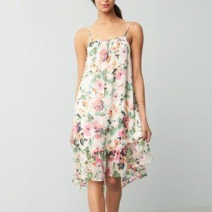 NWT Charles Henry Chiffon Midi Dress PINK FLORAL